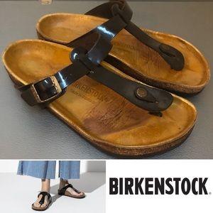 Birkenstock Gizeh Patent Thong Sandal Brown Gold